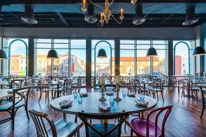 Roofers Union Restaurant with floor to ceiling windows