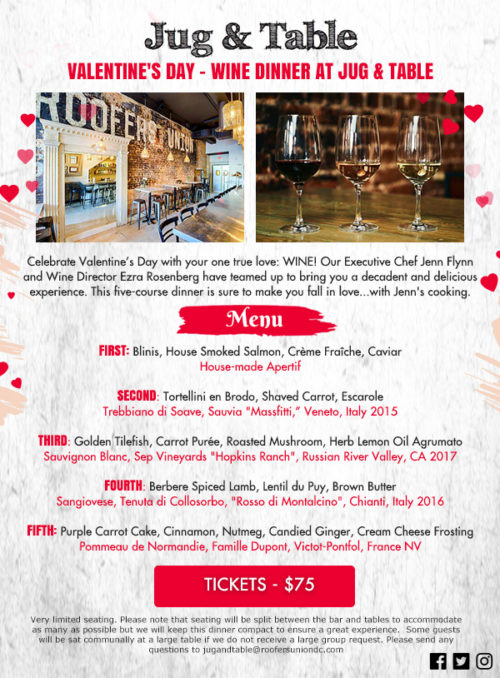 Valentines Day Wine Dinner at Jug & Table